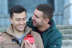 Coppia dello stesso sesso adorabile che divide affetto fotografia stock