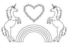 Coppia gli unicorni con l'arcobaleno ed il cuore con le stelle Pagina di coloritura per i bambini Vettore illustrazione di stock
