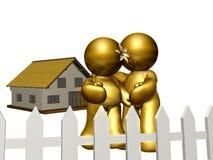 Coppia il buy una nuova casa e un rivestimento il futuro illustrazione vettoriale