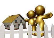 Coppia il buy una nuova casa e un rivestimento il futuro illustrazione di stock