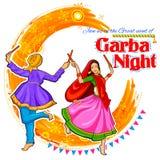 Coppia il gioco del Dandiya in manifesto di Garba Night della discoteca per il festival di Navratri Dussehra dell'India Immagine Stock Libera da Diritti