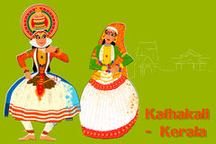 Coppia l'esecuzione del ballo classico di Kathakali del Kerala, India Fotografia Stock Libera da Diritti
