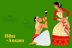 Coppia l'esecuzione della danza popolare di Bihu dell'Assam, India Fotografia Stock Libera da Diritti