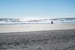 Coppia la camminata lungo il litorale su una spiaggia in Florida Immagini Stock