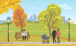 Coppia la carrozzina che cammina Autumn Park Together Vector illustrazione di stock