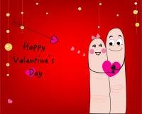 Coppia la carta divertente di giorno di S. Valentino ed il vettore felice della cartolina d'auguri di San Valentino Immagine Stock
