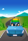 Coppia la guida dell'automobile che va su un viaggio stradale illustrazione vettoriale