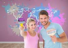 Coppia la verniciatura della mappa variopinta con il fondo della parete schizzato pittura Immagine Stock
