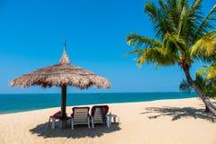 Coppia le sedie di spiaggia e l'albero del cocco sulla spiaggia tropicale con il fondo del cielo blu e del mare fotografie stock libere da diritti