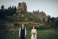 Coppia sposata dei giovani appena che posa sotto il pino Moun meraviglioso fotografie stock