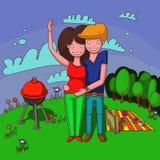 Coppia sposata su un picnic Immagine Stock