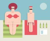 Coppia sposata sulla spiaggia Immagine Stock Libera da Diritti