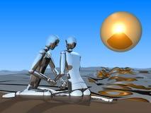 coppie 3D sulla spiaggia Immagine Stock