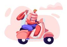 Coppie adorabili dello stile di vita attivo allegro del pensionato della motocicletta, dell'uomo e della donna di guida degli anz illustrazione vettoriale