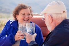 Coppie adulte senior felici con le bevande fotografie stock