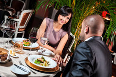 Coppie al ristorante Fotografie Stock