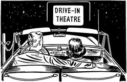 Coppie al teatro del drive-in Fotografie Stock Libere da Diritti