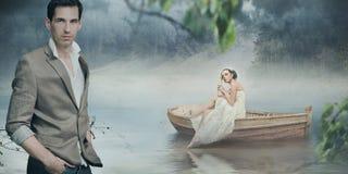 Coppie alla moda che propongono sopra bello romantico Fotografia Stock Libera da Diritti