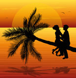 Coppie amorose al tramonto Fotografia Stock