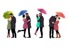Coppie amorose con gli ombrelli Illustrazione Vettoriale