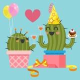 Coppie amorose del cactus alla festa di compleanno Immagine Stock