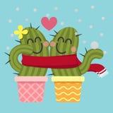 Coppie amorose del cactus nella neve Fotografia Stock Libera da Diritti