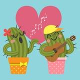 Coppie amorose del canto del cactus e della chitarra di gioco Immagine Stock Libera da Diritti