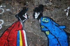 Coppie amorose nella parete Fotografia Stock Libera da Diritti