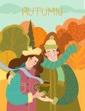 Coppie amorose sorridenti felici che godono del caffè caldo all'aperto royalty illustrazione gratis