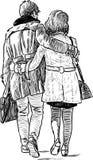 Coppie amorose su una passeggiata Immagine Stock