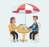 Coppie amorose in un caffè Illustrazione del fumetto di vettore nel retro stile illustrazione di stock