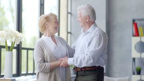 Coppie anziane amorose e felici in un appartamento moderno esaminano la macchina fotografica, sorridente e parlante archivi video