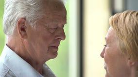 Coppie anziane amorose e felici in un appartamento moderno parlano e sorridono stock footage