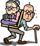 Coppie anziane del buon amico all'escursione Immagini Stock Libere da Diritti