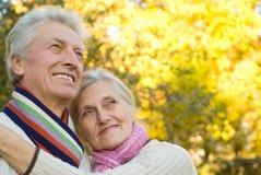 Coppie anziane in una sosta di autunno Immagine Stock