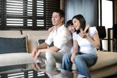 Coppie asiatiche con una figlia Fotografia Stock