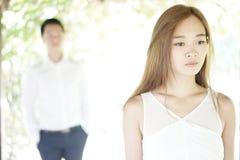 Coppie asiatiche in una relazione infelice Fotografia Stock Libera da Diritti