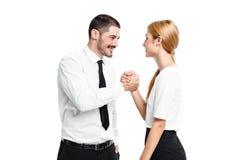 Coppie casuali felici di affari Fotografie Stock Libere da Diritti
