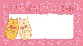 Coppie Cat Banner With Copy Space di amore di Valentine Day Gift Card Holiday Immagini Stock Libere da Diritti