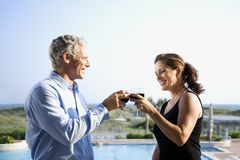 Coppie caucasiche che tostano i vetri di vino. fotografia stock