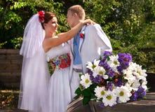 Coppie caucasiche di nozze Fotografia Stock