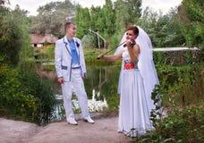 Coppie caucasiche di nozze Fotografie Stock Libere da Diritti