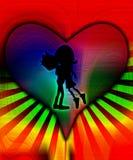 Abbraccio felice di amore con colore Fotografia Stock
