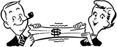 Coppie che allungano dollaro illustrazione vettoriale