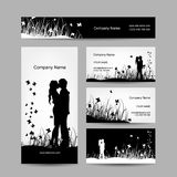 Coppie che baciano, biglietti da visita per la vostra progettazione Immagini Stock