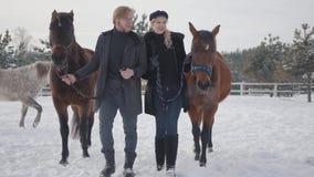 Coppie che camminano con i cavalli all'aperto su un ranch del paese nell'inverno Cavalli principali della donna e dell'uomo Caval video d archivio