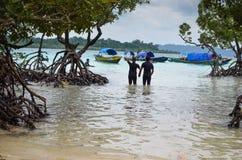 Coppie che camminano con tenersi per mano della mangrovia Fotografie Stock