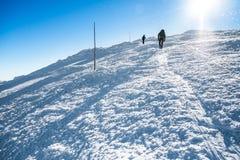 Coppie che camminano sulle montagne nevose Fotografie Stock Libere da Diritti