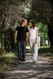 Coppie che camminano in un vicolo Fotografia Stock Libera da Diritti