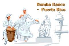 Coppie che eseguono ballo di Bomba del Porto Rico illustrazione vettoriale